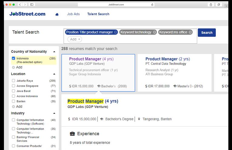 Talent Search   JobStreet Employer ID